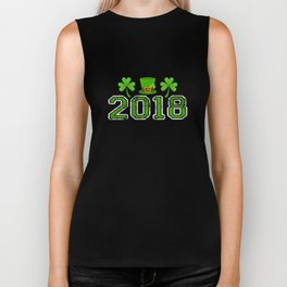 2018 Shamrocks And Leprechaun Hat St. Patrick's Day Biker Tank