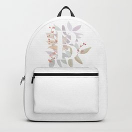 Rustic Floral Watercolor Monogram - Letter B Initial Backpack