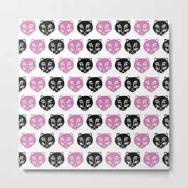 lovely pink and black leopard Metal Print