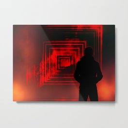 Portal to another world, portal to darkness with flames with a man in the coat. Metal Print