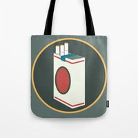 cigarette Tote Bags featuring cigarette by Simon Khoo's Illustration