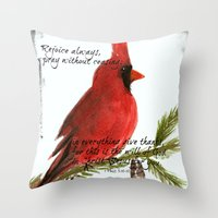 scripture Throw Pillows featuring Cardinal with Scripture  by Melanie Dorsey Designs