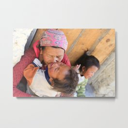 Nepali mother with her children Metal Print