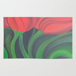Red Tulip Diptych Rug