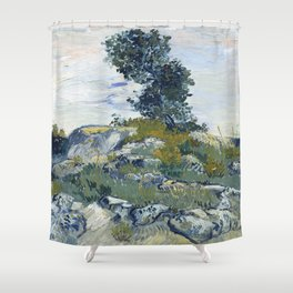 Vincent Van Gogh - Rocks with Oak Tree Shower Curtain