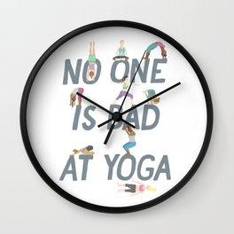 No One is Bad at Yoga Wall Clock