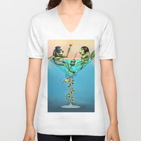 martini V-neck T-shirts featuring Frog Martini by Dino Turull