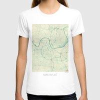 nashville T-shirts featuring Nashville Map Blue Vintage by City Art Posters