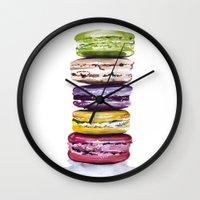 macarons Wall Clocks featuring Macarons by Bridget Davidson