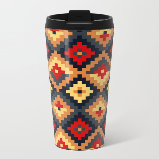 Aztec pattern-red, brown, nude, blue Metal Travel Mug