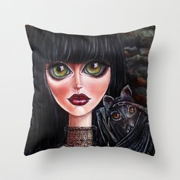 Batgirl Victorian Goth Girl with Grey Bat Big Green Eyes Throw Pillow