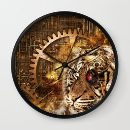 Steampunk gears and lion background Wall Clock