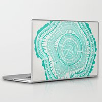 tree rings Laptop & iPad Skins featuring Turquoise Tree Rings by Cat Coquillette