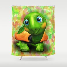 Green Turtle Baby 3D Shower Curtain
