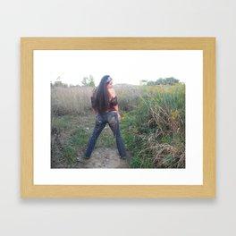 funky embellished jeans by ladykashmir Framed Art Print