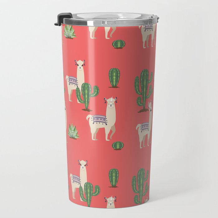 Llama with Cacti Travel Mug
