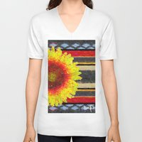 blanket V-neck T-shirts featuring Indian Blanket by Jim Pavelle