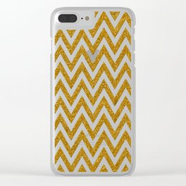 Gold Glitter Chevrons Clear iPhone Case