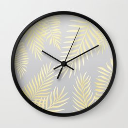 Gold palm leaves on grey Wall Clock