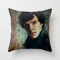 sherlock Throw Pillows featuring Sherlock by Sirenphotos