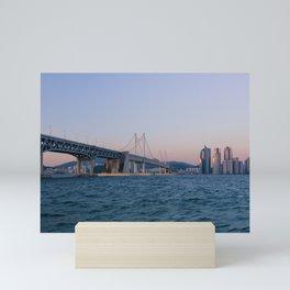 Gwangan Bridge and Haeundae Skyscrapers Mini Art Print