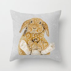 Swirly Bunny Throw Pillow