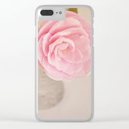Single pink Camelia rose in clear vintage vase. Clear iPhone Case
