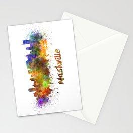 Nashville skyline in watercolor Stationery Cards