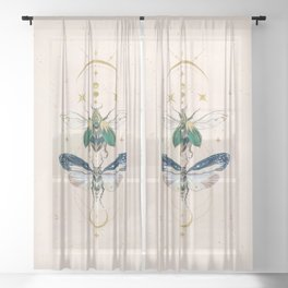 Moon insects Sheer Curtain