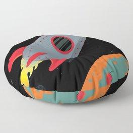 Cute Gray Rocket Ship Floor Pillow