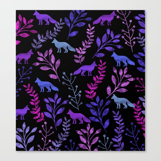 Watercolor Floral & Fox V Canvas Print