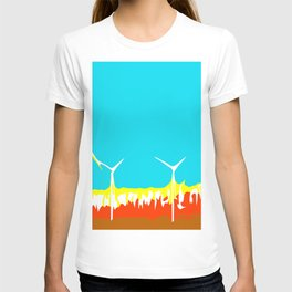 wind turbine in the desert with blue sky T-shirt