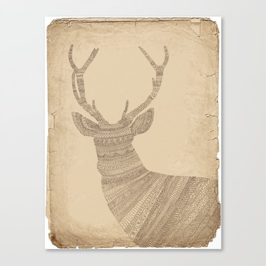 Stag / Deer (On Paper) Canvas Print