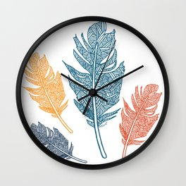 Sketched Feathers Wall Clock