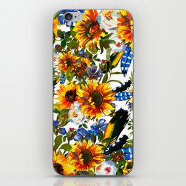 Abstract navy blue yellow watercolor sunflowers pansies pattern iPhone Skin