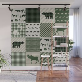 Camping hunter green plaid quilt cheater quilt baby nursery cute pattern bear moose cabin life Wall Mural