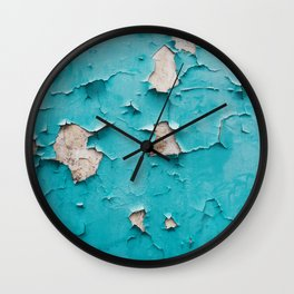 Old vintage blue cracked peeling off wall texture - abstract background illustration Wall Clock