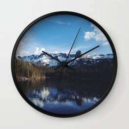 Snowy Peak and Lake Wall Clock