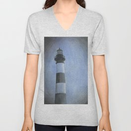 Bodie Island lighthouse at sunset in the Outer Banks (OBX) of North Carolina- USA Unisex V-Neck