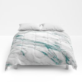 Gray Marble Aqua Teal Metallic Glitter Foil Style Comforters