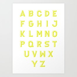 Chiseled yellow alphabet typeface Art Print