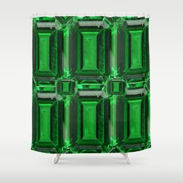 FACETED GREEN EMERALD MAY GEMSTONE ART Shower Curtain