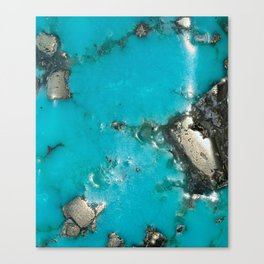 Turquoise with Gold Veining and Deposits Canvas Print