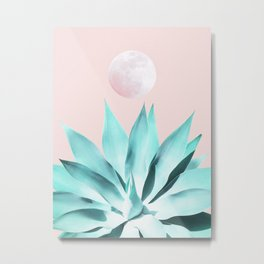 Stellar Agave and Full Moon - pastel aqua and pink Metal Print