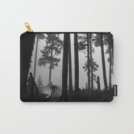 Mountain Biker in the Misty Bike Park Carry-All Pouch