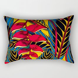 Jungle Glam Falling Leaves Blue Gold Rectangular Pillow