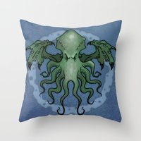 cthulhu Throw Pillows featuring Cthulhu by N.Kachaktano