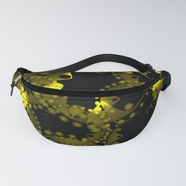 Abstract glowing pattern of gears and spheres in gold on a black background. Fanny Pack