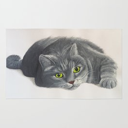Grey Cat Painting Rug
