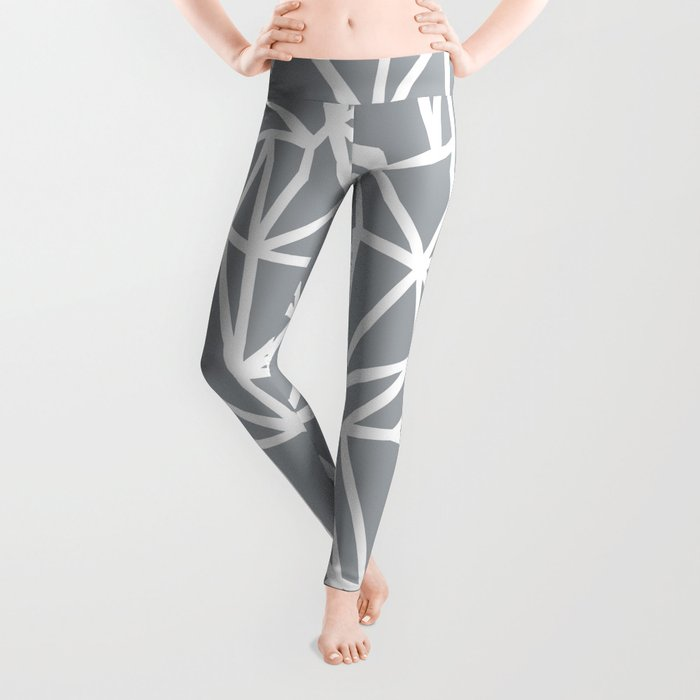 ea6962a500c3 Abstract Outline Thick White on Grey Leggings by projectm | Society6